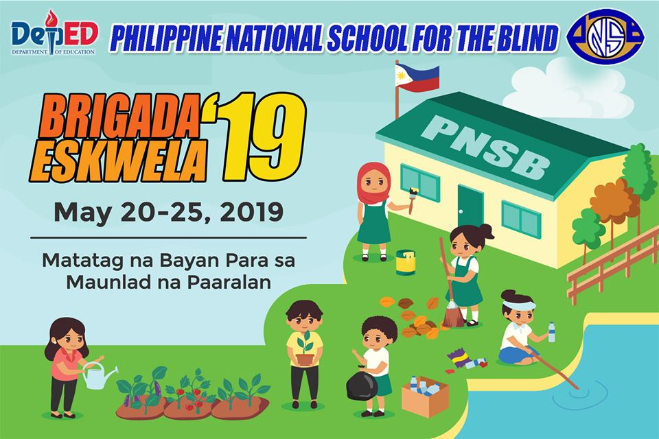 The image shows the Brigada Eskwela Banner with children playing in front of a school