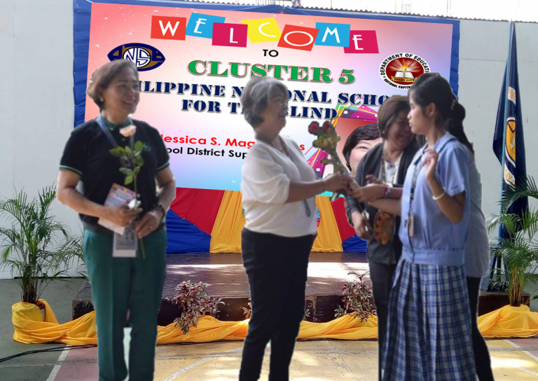 Dr. Jessica Magayanes receiving flowers from a student